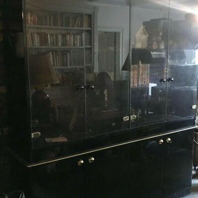 https://www.ebay.com/itm/124474088739FL0020 VINTAGE BLACK AND GOLD Display Cabinet W/ GLASS DOORS Pickup Only Buy-it-Now  $149.99