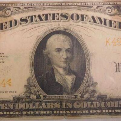 1922 10 Dollar Gold Certificate