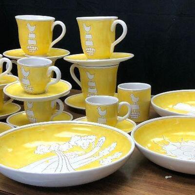 https://www.ebay.com/itm/124511422076WRY5011  Mid Century Modern Yellow & White Glazed Terracotta Plates, Cups - Partridge Bird Local...