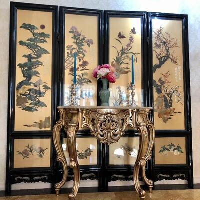Oriental screen w/ Jade, Mother of Pearl, etc