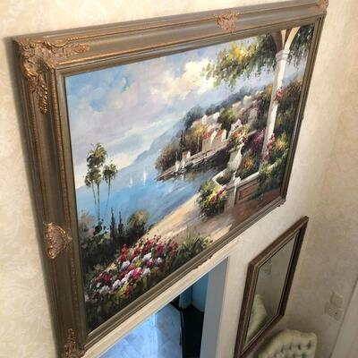 Several large oil paintings