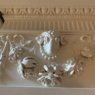 Late 19th Century Hand Carved Fireplace Mantel with Ram Heads