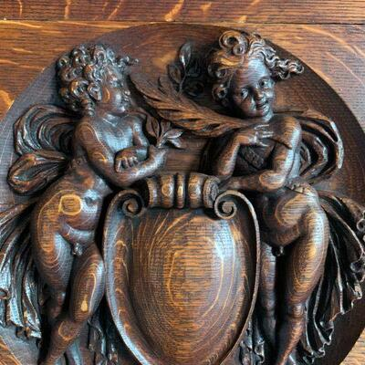 Late 19th Century Hand Carved Fireplace Surround with Cherubs in Rich Satinwood