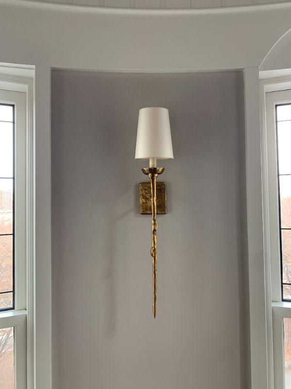 Modern Brass Torchiere Wall Sconces, Set of Six