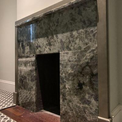 Modern Low Profile Marble Mantle and Fireplace Surround