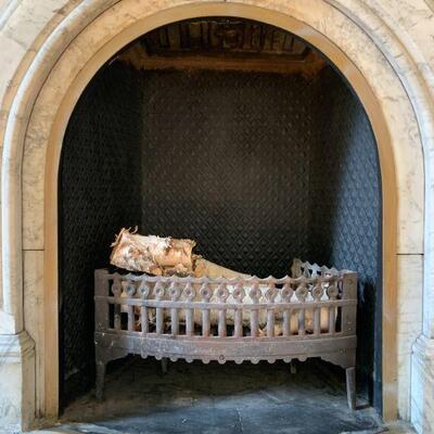 Three Panel Late 19th Century Iron Fireplace Fireback With Diamond Pattern
