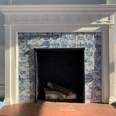 18th Century Dutch Delft Blue and White Tiled Fireplace Surround