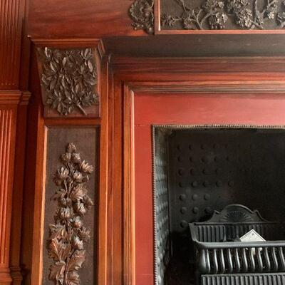 Hand Carved Fireplace Surround Featuring Chrysanthemums, Maple Leaves and Dogwood Flowers