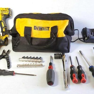 1204	 Dewalt Tool Bag With Various Hand Tools Tools Include Cordless Impact Driver, Drill Driver, Socket Wrench, Flathead, Pliers, And...
