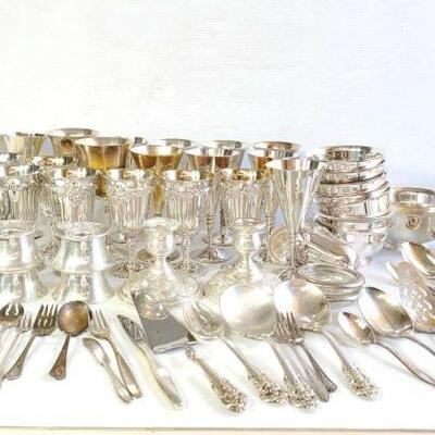 #1246 • Sterling Silverware, Silver Plated Goblets, Bowls, Silverware, Glass Plates, Weighted Sterling Candlesticks… LIVE IN 11d 21h 38min