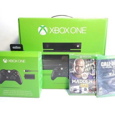 1054	 Xbox One Console, Xbox One Controller, And Two Games Factory Sealed. Games Include Call Of Duty Ghosts And Madden 25 OS14-000384.3
