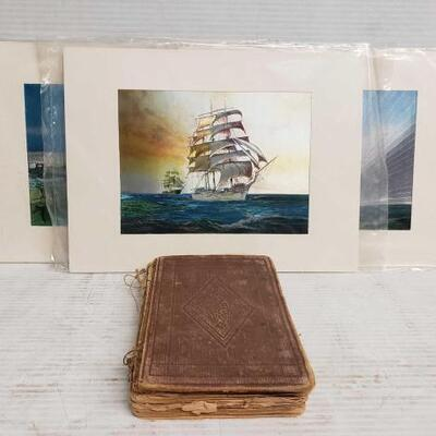 #7110 • 3 Pieces Of Sail Boat Art And Vintage Book