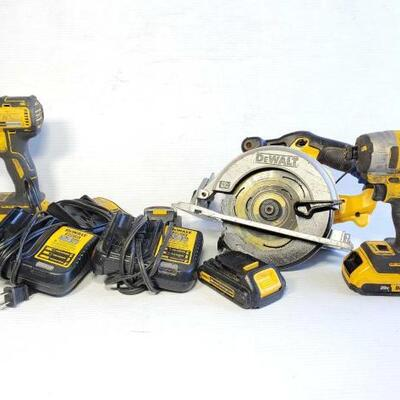 #1216 • 2 Drills, 2 Dewalt Batteries, 3 Dewalt Chargers, And Dewalt Saw