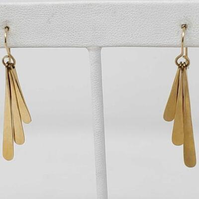 56	  10k Gold Dangle Earrings, 3g Weighs Approx 3g