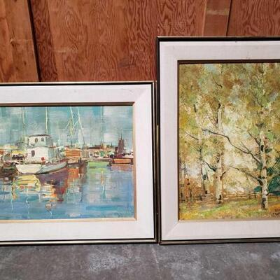 #4502 • 2 Framed Paintings by Edmond Woods