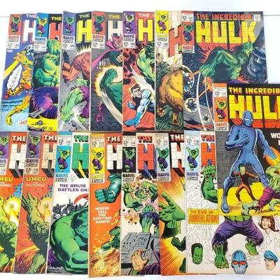 222	 The Incredible Hulk Comic Books Issues 103-112 Includes Issue Number 103, 104, 106, 107, 108, 109, 110, 110, 111, 112, 113, 114,...