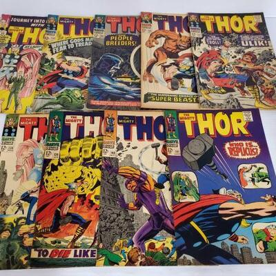 246	 9 The Mighty Thor Comic Books No. 113- Issues are not in consecutive order. Issues Include 113, 132, 134, 135, 137, 138, 139, 140, 141