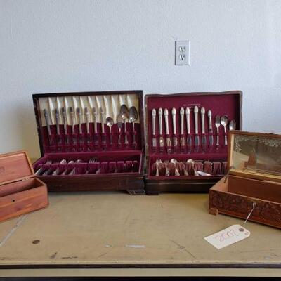 2002: 	 Silver Plated Flatware, Wooden Original Silverware Boxes Silver Plated Flatware, Wooden Original Silverware Boxes