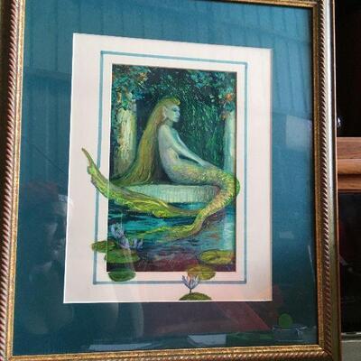 https://www.ebay.com/itm/124540575446LAR0015 Barbara Yochum framed painting, blue green mermaid turned to side, blue Auction