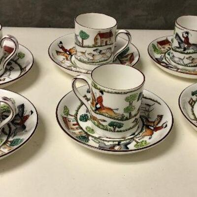 https://www.ebay.com/itm/114651800942BA5102 Lot of 6 Staffordshire Demitasse Cups and Saucers Hunting SceneAuction
