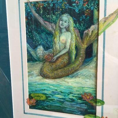 https://www.ebay.com/itm/114644962393LAR0013 Barbara Yochum Framed art, blue trim with a blue green mermaid and lily Auction