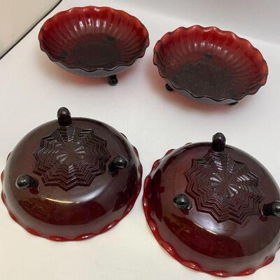 set of 4 red dish trinket bowls
