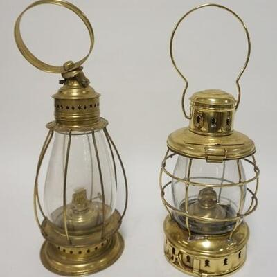 1002	LOT OF 2 REPRODUCTION BRASS NAUTICAL LANTERNS, LARGEST IS 17 IN HIGH
