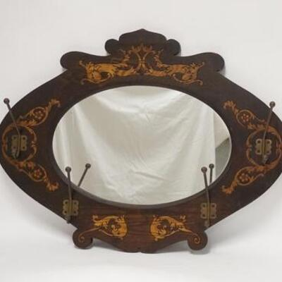 1077CARVED & DECORATED MIRROR BACK HANGING HAT RACK, ORIGINAL HOOKS, 28 1/2 IN X 21 3/4 IN10020050PLEASE PAY ATTENTION FOR DAILY...