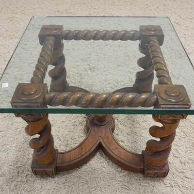 1020	GLASS TOP TABLE W/BARLEY TWIST BASE, 24 IN SQUARE X 16 IN HIGH