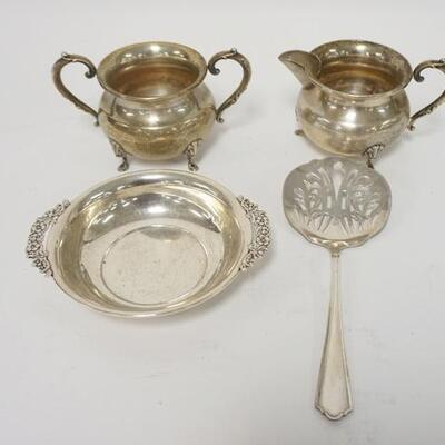 10644 PIECES OF STERLING SILVER, SMALL BOWL, CREAMER, SUGAR & SLOTTED SPOON, 9.71 TOZ TOTAL