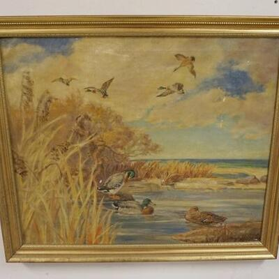 1048FRAMED SIGNED OIL ON CANVAS, DUCKS IN FLIGHT & SHORE, SOME PAINT LOSS, OVERALL 33 3/4 IN X 29 IN