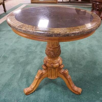 1018	ROUND 2 TONE MARBLE TOP LAMP TABLE, 24 IN X 26 IN