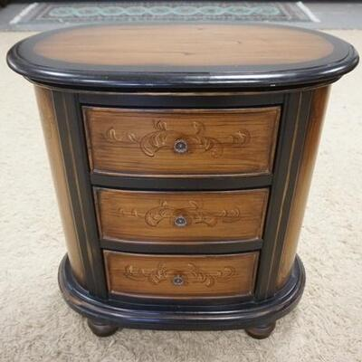 1025OVAL WOOD GRAINED 3 DRAWER CHEST, 27 1/4 IN X 15 IN X 29 1/2 IN