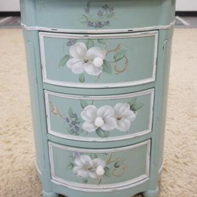1023PAINT DECORATED OVAL 3 DRAWER STAND, 19 IN  WIDE X 16 IN DEEP X 26 1/2 IN