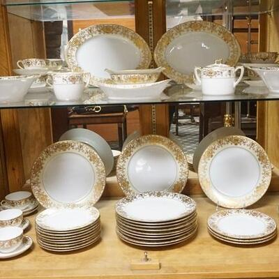 107156 PIECE NO 175 ASSEMBLED DINNERWARE SET, SOME PIECES HAVE THE OLD GREEN MARK W/ THE PATTERN NAME IN CHARACTER WRITING, THE HANDLED...