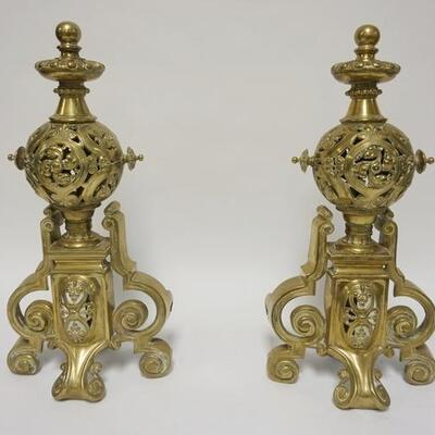 1001	PAIR OF ORNATE BRASS CHENETS, 19 IN HIGH