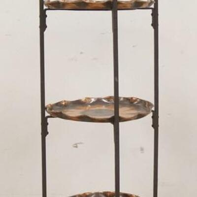1070WROUGHT IRON & COPPER 3 TIER STAND,COPPER PLATES HAVE A FLOWER DESIGN, 36 IN HIGH, PLATES HAVE A 10 1/2 IN DIAMETER