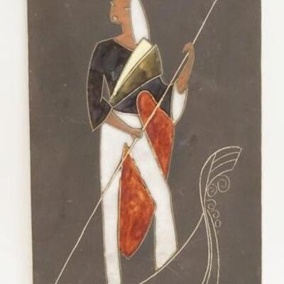 1087MID CENTURY MODERN SIGNED ENAMEL TILE. 6 IN X 13 1/2 IN 5010020PLEASE PAY ATTENTION FOR DAILY ADDITIONS TO THIS SALE. PARTIAL...