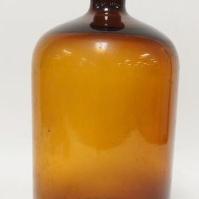 1088LARGE AMBER GLASS BOTTLE W/ STOPPER HAS THE NUMBERS 7 & 5 ON BOTTOM. 15 IN H 5010020PLEASE PAY ATTENTION FOR DAILY ADDITIONS TO...