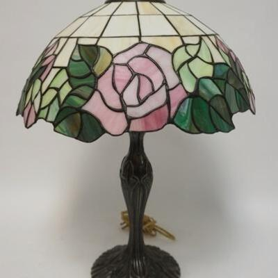 1045CONTEMPORARY LEADED GLASS TABLE LAMP, 24 IN