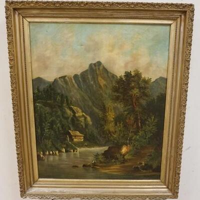 1047FRAMED OIL ON CANVAS, COTTAGE ON STREAM W/MAN FISHING, IMAGE 23 IN X 28 1/2 IN
