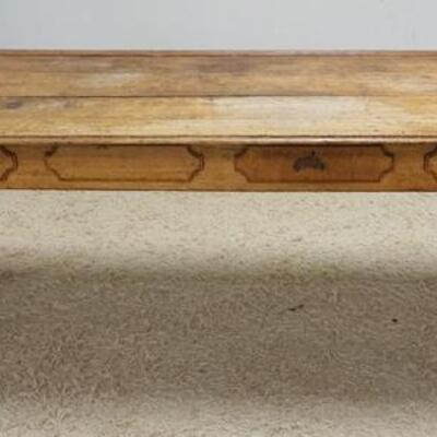 1056LARGE OAK COUNTRY STORE TABLE W/BACK STOP & ANGLED SURFACE, 93 IN WIDE X 30 IN X 31 IN