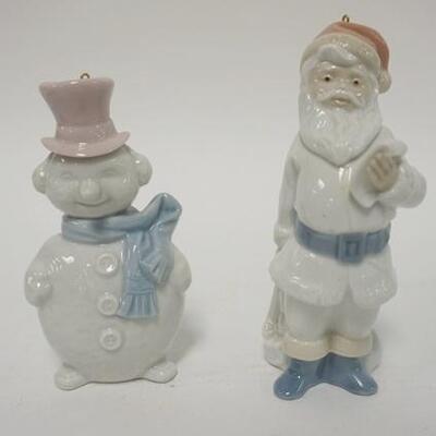 1029LLADRO SANTA & SNOWMAN CHRISTMAS ORNAMENTS, SANTA IS 4 3/4 IN HIGH