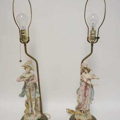1045A2 FIGURAL BISQUE TABLE LAMPS, 31 IN