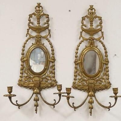 1078PAIR OF BRASS MIRROR BACK SCONCES W/URN CRESTS, 13 3/4 IN WIDE X 25 IN HIGH10020050PLEASE PAY ATTENTION FOR DAILY ADDITIONS TO...