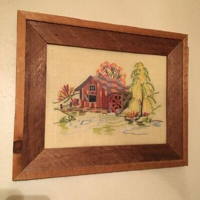 Crosstitch artwork in a real rustic homemade wood frame, 21 1/2 x 17 1/2.