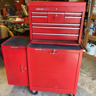 Stack-On Professional Tool Storage Chest / Cabinet. Top box dimensions 20.5x26x12. Bottom box dimensions 18x26.5x32.75. Side box...