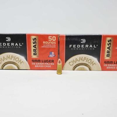 #1252 • 100 Rounds Of Federal Ammunition 9mm Luger- 115 Gr FMJ RN