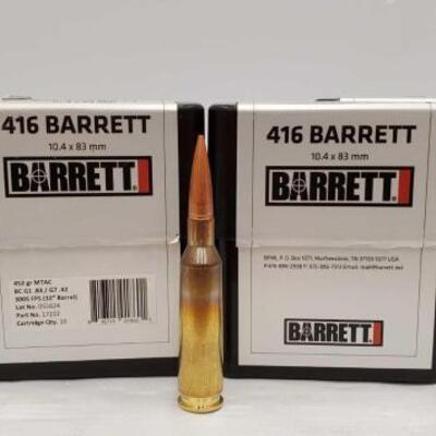 724  80 Rounds Of .416 Barrett - 452 GR 10.4 x 83mm 80 Rounds Of .416 Barrett - 452 GR 10.4 x 83mm