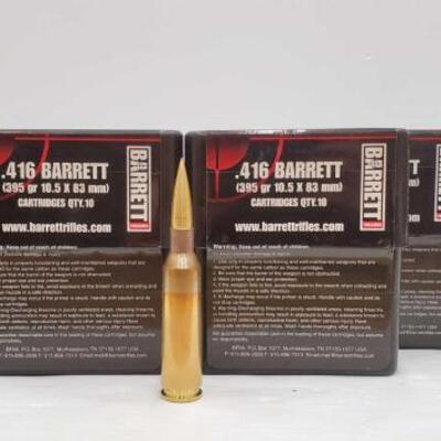710  93 Rounds Of .416 Barrett and 7 Shells - 395 GR 10.5 x 83mm 93 Rounds Of .416 Barrett and 7 Shells - 395 GR 10.5 x 83mm